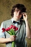 Student with flowers Stock Image