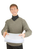 Student with folders Stock Photo