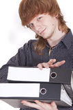 Student with folders Stock Photos