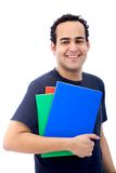 Student with folders and notebooks Royalty Free Stock Image
