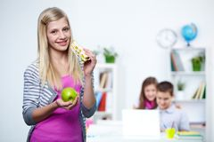 Student with food Stock Images