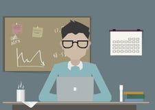 Student forskare, elev som forskar och studerar på arbetsplatsskrivbordet med bärbara datorn Plan vektorillustration stock illustrationer