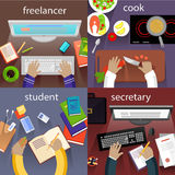 Student Freelancer, Cook and Secretary Royalty Free Stock Photos