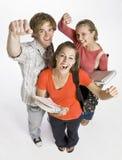 Student friends cheering Stock Photo