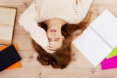 Student gesorgt um Prüfungen Stockfotos