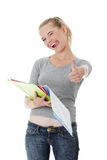 Student gesturing OK. Stock Photo