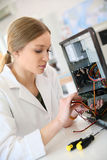 Student gil in tachnology apprenticeship Stock Image