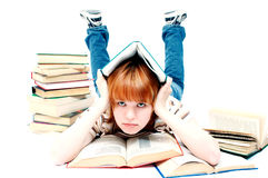 Student girl. Red-haired student girl Stock Photos