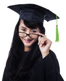 Student girl in an academic gown Stock Images