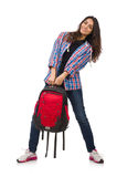The student girl with backpack isolated on white Royalty Free Stock Images