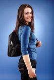 Student girl with backpack Royalty Free Stock Photo