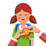 Student girl being awarded for win at school fair stock illustration