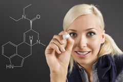Student girl at blackboard Stock Photos