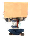 Student girl with blank cork board Stock Photography
