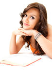 Student girl with book looking at camera Stock Photos