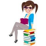 Student Girl Book Pile Royalty Free Stock Photos