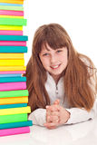 Student girl with books Royalty Free Stock Photo