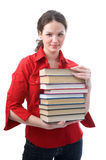 Student girl with books Stock Photos