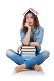 Student girl with books isolated on white Royalty Free Stock Photography