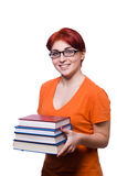 Student girl with books isolated on white Stock Images