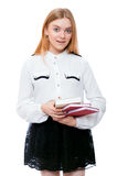 Student girl with books isolated on white Royalty Free Stock Photos