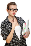 Student girl with books and a pencil Royalty Free Stock Photography