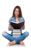 Student girl with books on white Royalty Free Stock Photography
