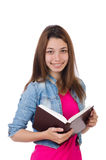 Student girl with books on white Stock Image