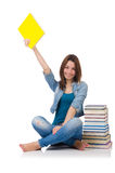 Student girl with books on white Stock Photography