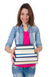 Student girl with books on white Stock Photos