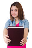 Student girl with books on white Stock Images