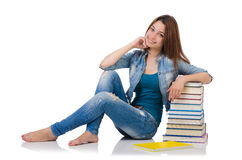 Student girl with books on white Royalty Free Stock Photo