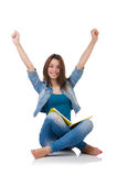 Student girl with books on white Stock Photo