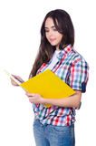 Student girl with books on white Royalty Free Stock Photos