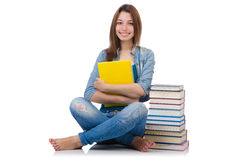 Student girl with books on white Royalty Free Stock Images