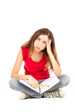 Student girl bored studying Stock Image