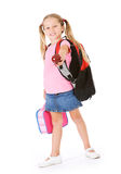Student: Girl Bringing An Apple To School For Teacher Stock Image