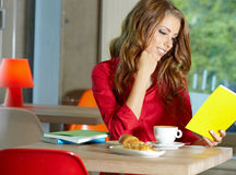 Student girl in the cafe. Young beautiful student girl in the cafe stock image