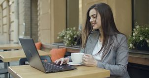Student Girl in Cafe stock video footage
