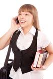 Student girl calling her school mate Stock Image