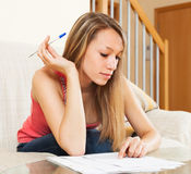 Student girl carefully studying the notes Stock Photos