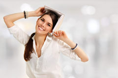 Student girl cheerful Royalty Free Stock Photos