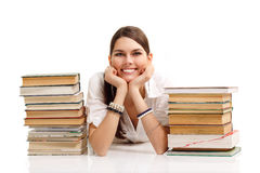 Student girl cheerful with books Stock Photo