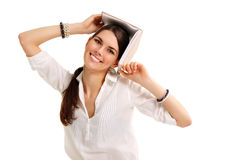 Student girl cheerful with books Royalty Free Stock Photography