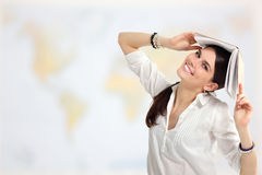 Student girl cheerful with books over world map Royalty Free Stock Photo