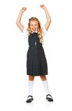 Student: Girl Cheering For Education. Isolated on white series of a child in student uniform clothing Stock Photography