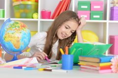 Student girl at class Royalty Free Stock Image