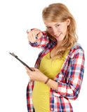 Student girl with clipboard pointing you Royalty Free Stock Image