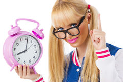 Student girl with clock Stock Image