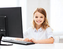 Student girl with computer at school Stock Image
